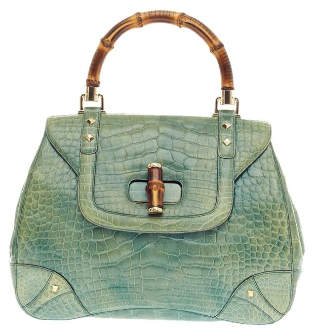 Gucci Bamboo Top Handle Large Green Alligator Skin Satchel 77% off retail