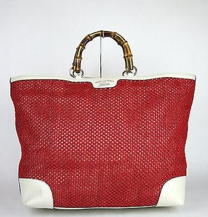 Gucci Top Handle Bamboo Tote in Red