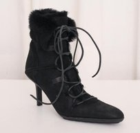 Gucci Womens Leather Shearling Fur High Heel Ankle Black Boots
