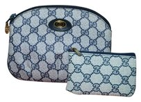 Gucci Auth Vintage Gucci Navy Monogram Canvas Cosmetic Makeup Bag Pouch
