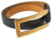 Gucci Authentic GUCCI Logos Buckle Belt Leather Black Gold Italy Vintage M06038