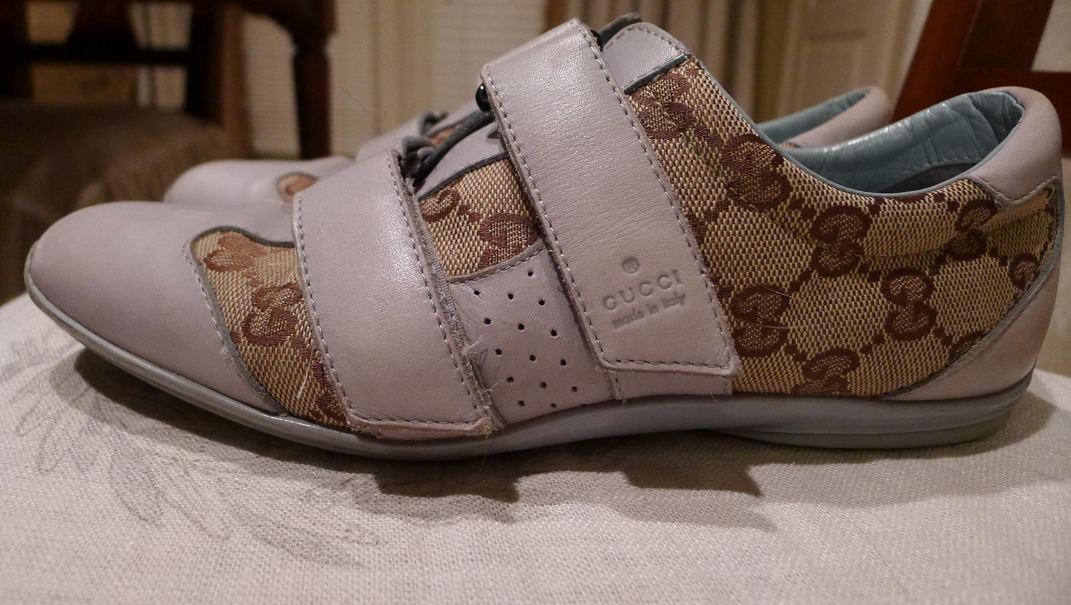 Gucci Baby Blue & Canvas Athletic Shoes on Sale f