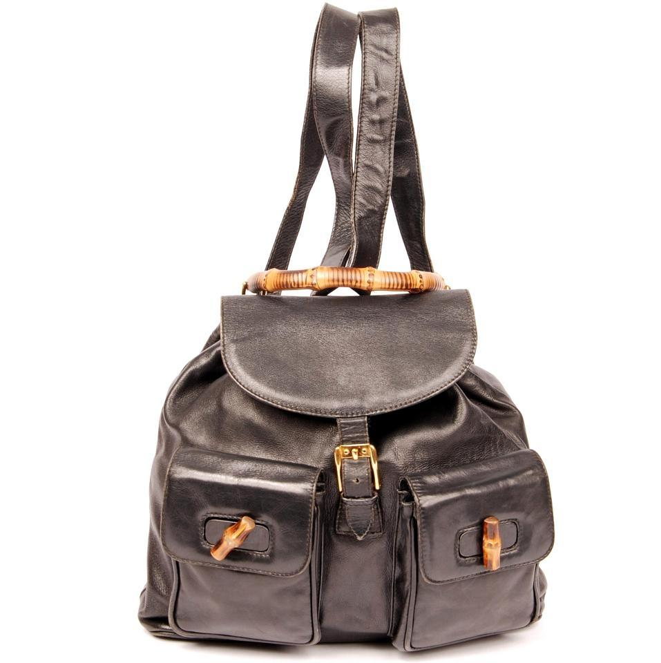 Gucci 3491 Bamboo Black Leather Backpack