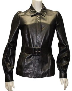 Gucci Leather Button Front Belted Coat Hs695 Black Jacket