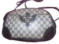 Gucci Bohemian Satchel in coated canvas navy large G logo print & leather in blues