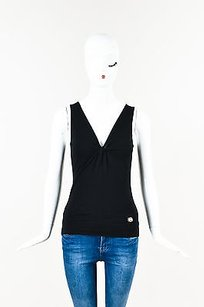 Gucci Knit Knotted V Top Black