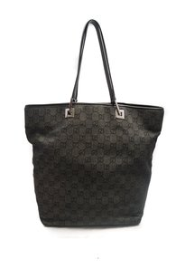 Gucci Canvas Leather Tote in Black Monogram
