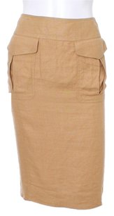 Gucci Cargo Italian Linen Pencil Couture Skirt Tan