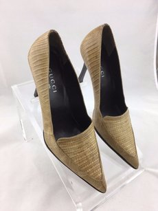 Gucci Snakeskin Pointed Beige Pumps