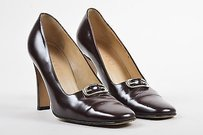 Gucci Leather Logo Brown Pumps