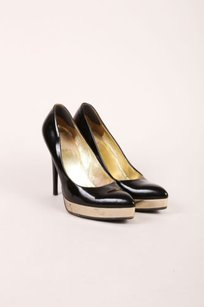 Gucci Black Gold Patent Leather Pointed Toe Platform Pumps