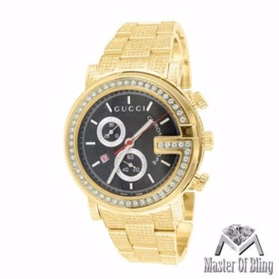 Gucci Custom Mens 101 G Gold Pvd Real Mm Diamond Gucci Ya101334 Watch 15 Ct