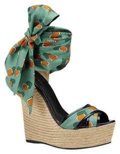 Gucci Espadrille Fashion Heartbeat Satin Green Leather Italy Turquoise Green Wedges