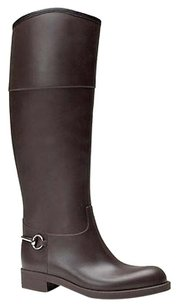 Gucci Rubber Knee High Rain Whorsebit 338878 2140 Brown Boots