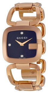 Gucci G Black Diamond Dial Rose Gold-tone Ladies Watch YA125409