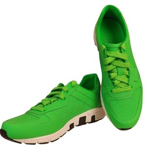 Gucci Green Mens Neon Leather Ipanema Lace Up Running Sneakers 9 Us 10 Shoes