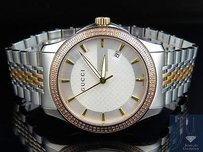 Gucci Gucci 101 G-timeless Tone Rose Gold Plated Mm Swiss Diamond Watch 1.50 Ct