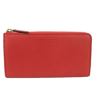 Gucci GUCCI 332747 Women's Red Leather Zip Around Wallet