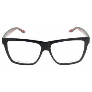 Gucci Gucci 55mm Shiny Black/Red/Green Rectangle Unisex Eyeglasses