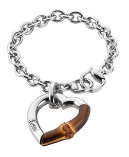Gucci GUCCI BAMBOO HEART CHARM 925 ST SILVER BRACELET