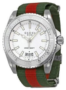 Gucci GUCCI Dive Silver Dial Red and Green Nylon Men's Watch YA136207