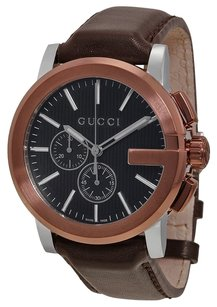 Gucci Gucci G-Chrono Black Dial Brown Leather Strap Mens Watch