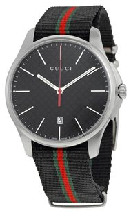 Gucci GUCCI G-Timeless Black Dial Fabric Black Striped Men's Watch YA126321