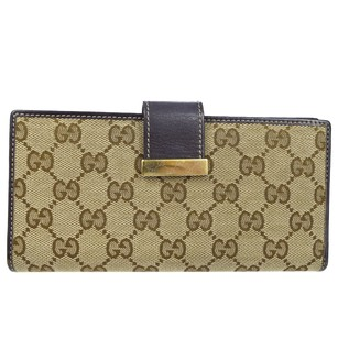 Gucci GUCCI GG Pattern Long Bifold Canvas Leather Wallet Purse