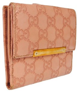 Gucci GUCCI GG Pattern Wallet Purse Bifold Pink Leather Vintage Italy