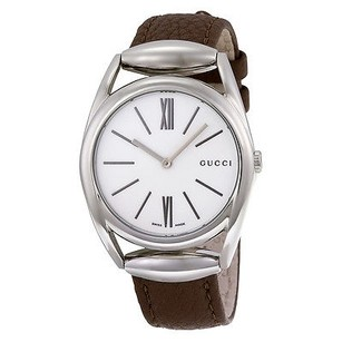 Gucci Gucci Horsebit White Dial Brown Leather Strap Ladies Watch