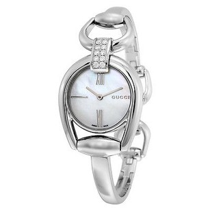 Gucci Gucci Horsebit Whte Mother Of Pearl Dial Steel Ladies Watch