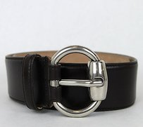 Gucci Gucci Leather Belt Whorsebit Buckle Dark Brown 80/32 307985 2140