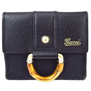Gucci GUCCI Logos Bamboo Bifold Leather Black Wallet Purse
