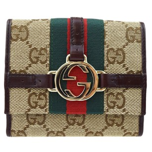 Gucci GUCCI Logos GG Pattern Bifold Canvas Leather Wallet Purse