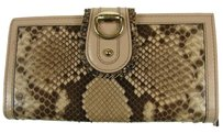 Gucci GUCCI LONG WALLET PURSE BEIGE BROWN PYTHON LEATHER ITALY VINTAGE