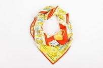 Gucci Gucci Red Yellow Blue Silk Twill Teacup Print Square Scarf