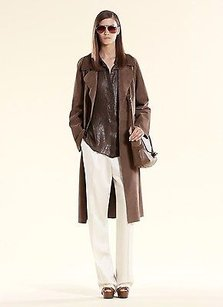 Gucci Gucci Runway Ash Brown Suede Belted Trench Coat 340439 2711