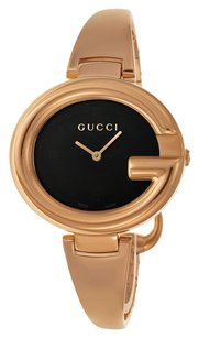 Gucci GUCCI ssima Black Dial Rose Gold PVD Ladies Watch YA134305