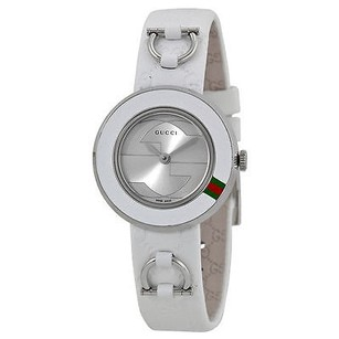Gucci Gucci U Play Silver Dial White Leather Strap Ladies Watch