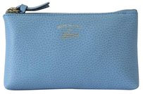 Gucci Gucci 368880 Swing Leather Zip Top Pouch Blue