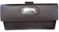 Gucci Gucci Dk Brown Dollar Calf Leather Continental Clutch Wallet T. Moro 231841