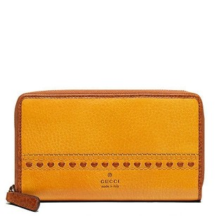 Gucci Gucci Womens Laidback Crafty Yellow Leather Zip Around Clutch Wallet