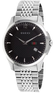 Gucci Gucci YA126309 G-Timeless Signature Web Men's Black Dial Watch