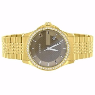 Gucci Guci G-timeless Watch Ya126406 Stainless Steel Gold Plate Real Diamond 1.50 Ct