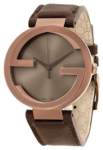 Gucci Interlocking G Brown Dial Brown Leather Men's Watch YA133207
