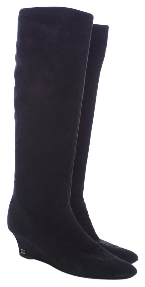 gucci suede leather monogram wedge knee high black boots