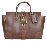 Gucci Lady Buckle Leather Top Satchel in Brown