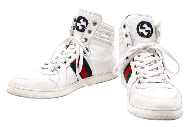 gucci shoes high top white. gucci leather high top red/green stripe gg white athletic shoes