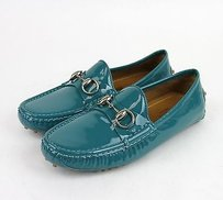 Gucci Patent Leather Horsebit Driver 4408 Turquoise Flats