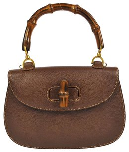 Gucci Logos Bamboo Hand Brown Tote in Brown, Gold